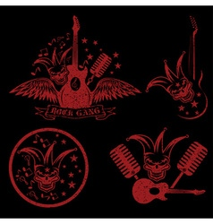 grunge rock gang set with jester skullwings and vector image