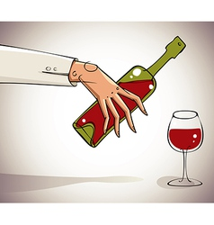 Hand pouring wine into glass vector image