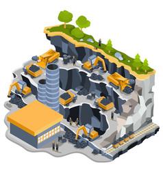 isometric coal mining quarry vector image