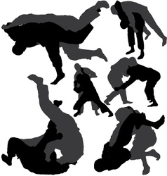 Jiu-Jitsu and judo silhouettes vector image