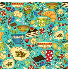 Tea and coffee doodle seamless pattern vector image