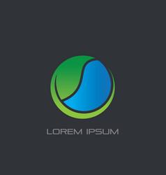 circle leaf water logo vector image vector image
