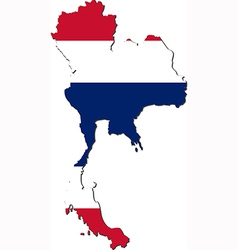 Map of Thailand with national flag vector image vector image