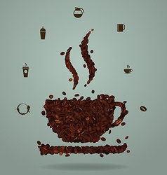 Roasted coffee beans in the shape of a cup vector image vector image
