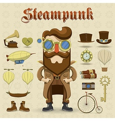 Steampunk character and elements icons vector image