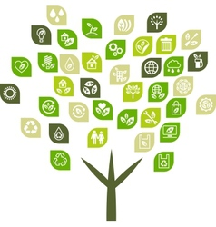 Tree background of eco web icons vector image