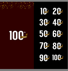 100 years anniversary number with gold ribbon set vector