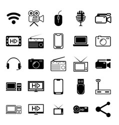 25 multimedia line icon set vector image