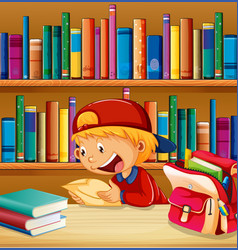 A boy at library vector