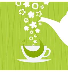 A cup green tea vector