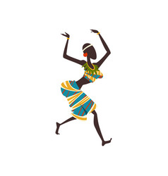 African girl dancing folk or ritual dance woman vector