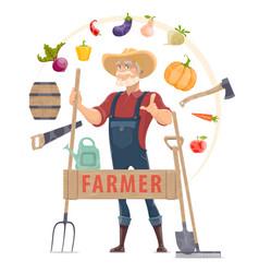 agronomist elements round concept vector image