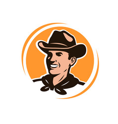 american cowboy in a hat logo or emblem vector image