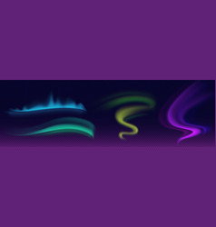 Aurora borealis northern lights set vector