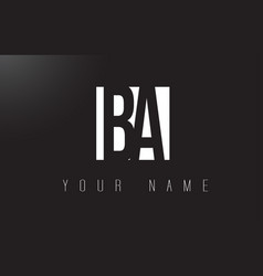 Ba letter logo with black and white negative vector