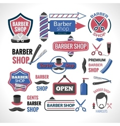 Barber shop symbols signs labels collection vector image