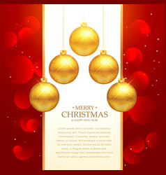 beautiful red background with golden christmas vector image