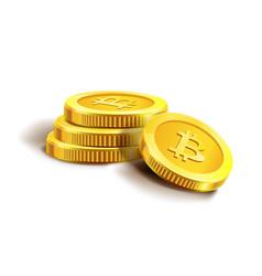 Bitcoin golden coins pile stack vector