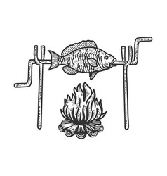 bonfire fish sketch vector image