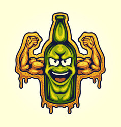 Bootle beer strong cartoon character vector