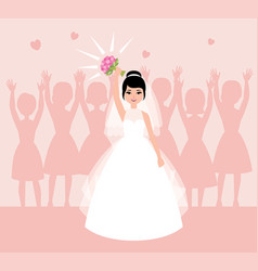 Bride in white wedding dress throws flowers into vector
