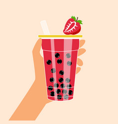 Bubble tea with tapioca and strawberries vector