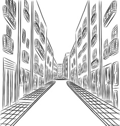 Buildings in town drawing vector