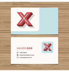 Business card letter x vector