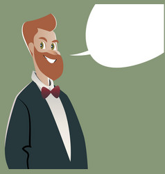 businessman and empty speech balloon cartoon style vector image
