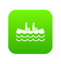canoeing icon digital green vector image