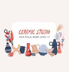 Ceramic studio products hand drawn banner vector