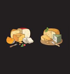 cheese hand drawn color sketch watercolor set vector image
