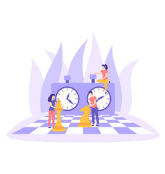 chessboard chess clock tactic game flat vector image