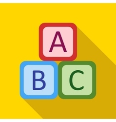 Children s toy cubes with letters on a yellow vector image