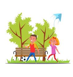 Children walk in park flat vector