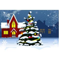 Christmas tree near residential houses vector
