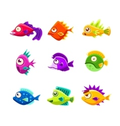 Colorful Cartoon Tropical Fish Collection vector