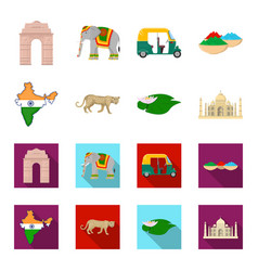 Country india cartoonflat icons in set collection vector