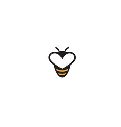 Creative bee insect heart symbol abstract logo vector