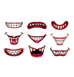 Creepy clown mouths set scary smile with jaws and vector