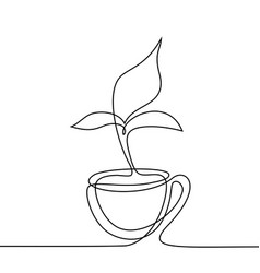Cup tea with smell shaped leaf vector