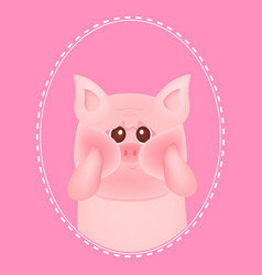 cute little pig with red cheeks on pink vector image