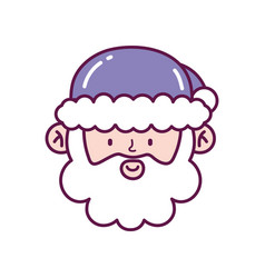 cute santa claus face decoration merry christmas vector image