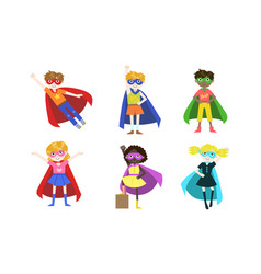 cute superhero kids various nationalities set vector image