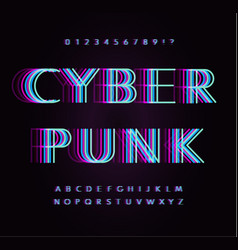 Cyber punk letters and numbers set overlay vector