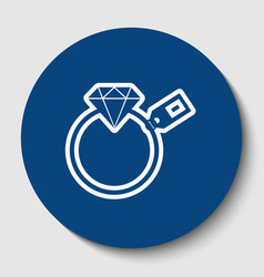 diamond sign with tag white contour icon vector image