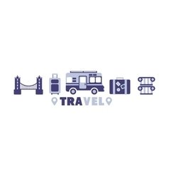 Eurotrip Travel Symbols Set By Five In Line vector image