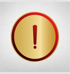 exclamation mark sign red icon on gold vector image
