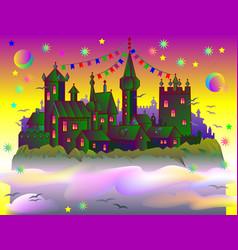 fairyland fantasy castle late at sunset cartoon vector image