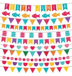 Festa Junina bunting flags set vector image